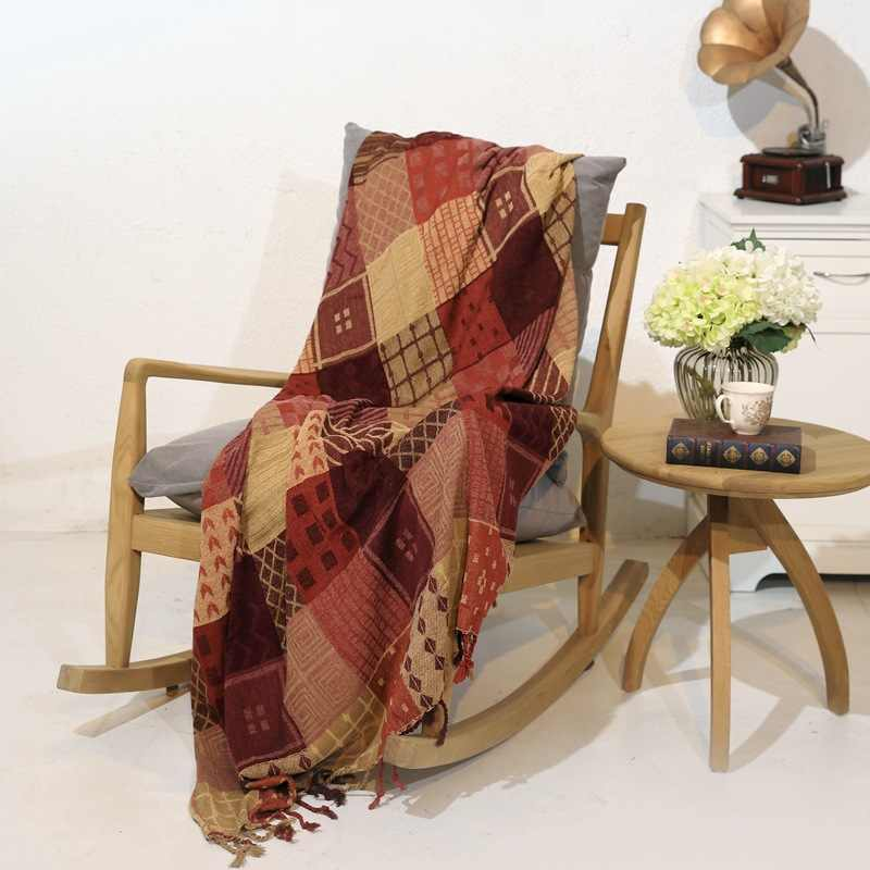 10 colors  Cotton Bohemian Chenille Plaids Blanket Sofa Decorative Throws on Sofa/Bed large Cobertor Blanket With Tassel T276