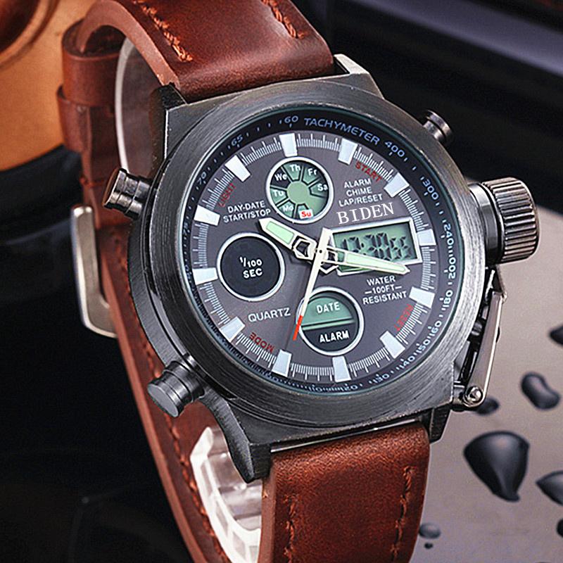 Prix pour Reloj Hombre 2016 Montres hommes marque de luxe Sport plongée 50 m LED Militaire montres Véritable quartz mens montre Horloge Relogio Masculino