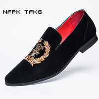 Plus Size Men Casual National Style Wedding Nightclub Corrected Grain Leather Shoes Nubuck Cow Suede Shoe