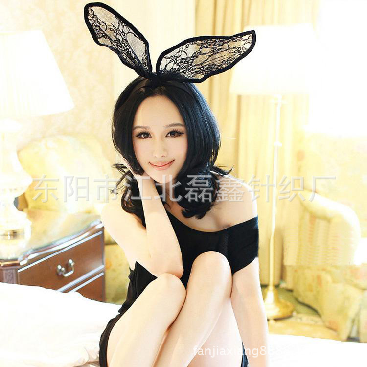 Rabbit Ear Lace Hairbands Florals Women Fashion Headbands Spandex White / Black Adult Headwear For Sex Game Animation Role Play
