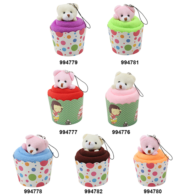 1 PC Creative Mini Bear Cup Cake Towels Cotton Hand Towels Face Towel wedding Party Gifts 30x30cm IC994776