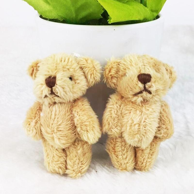 6PCS/Lot Mini Joint Bear Stuffed Plush Toys 6.5cm Cute Light Ted Bears Pendant Dolls Gifts Birthday Wedding Party Decor J00501