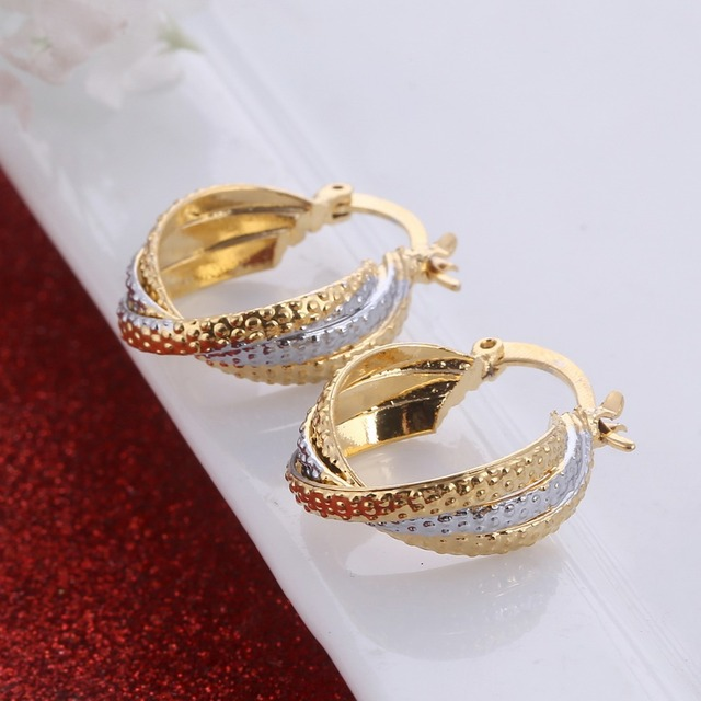 Two Tone Gold Color Earrings Men Jewelry Wholesale Trendy African