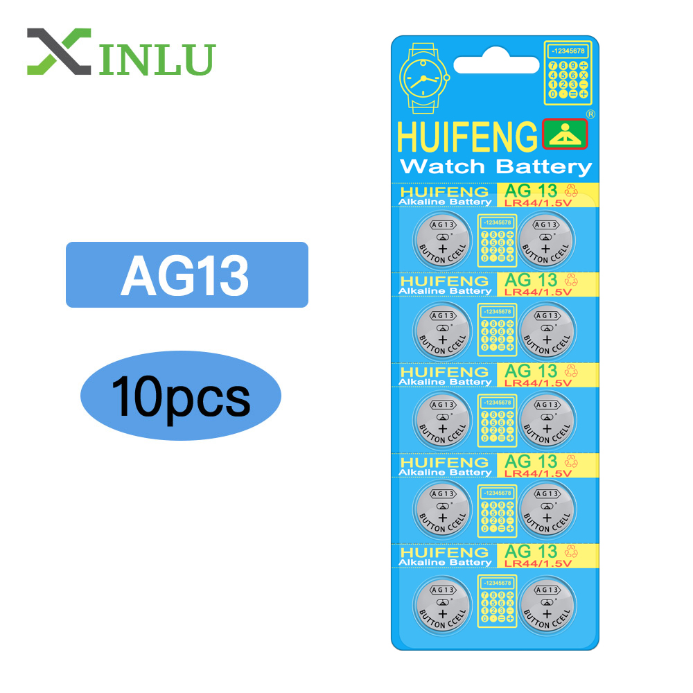 10pcs/lot AG13 357A LR44 SR44SW SP76 L1154 RW82 RW42 Battery Cell  Coin Battery For Watch, 10pcs AG13 Battery XINLU