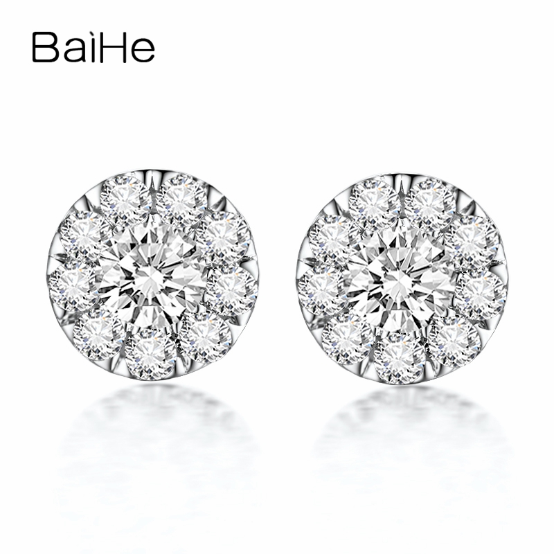 BAIHE Solid 18K White Gold 0.16CT H/SI Round Genuine Natural Diamonds Wedding Trendy Fine Jewelry Elegant Unique Stud Earrings solid 18k rose gold unique stud earrings for women si h 100% natural diamonds earrings unique trendy party fine jewelry