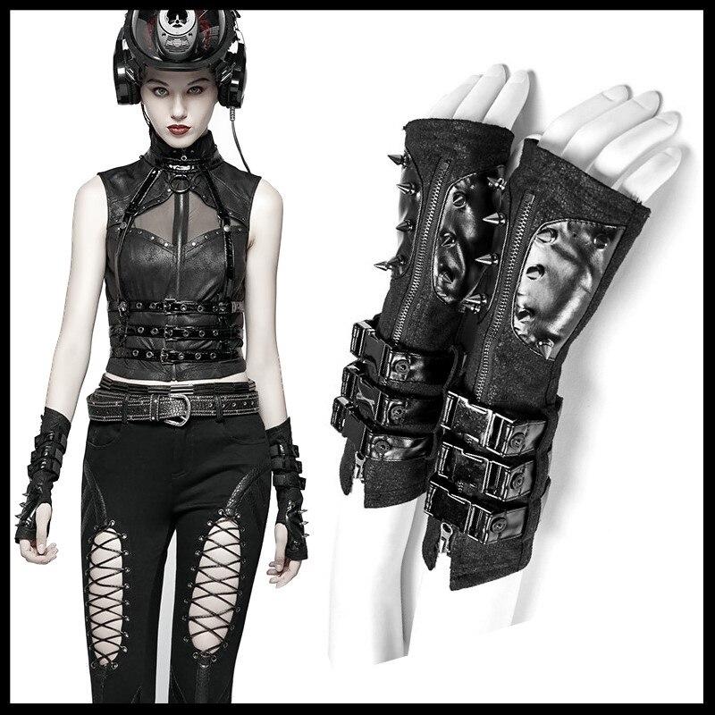 PUNK RAVE femmes Punk Rock noir en cuir sans doigts gants mode femmes moto longs gants bras chaud mitaines