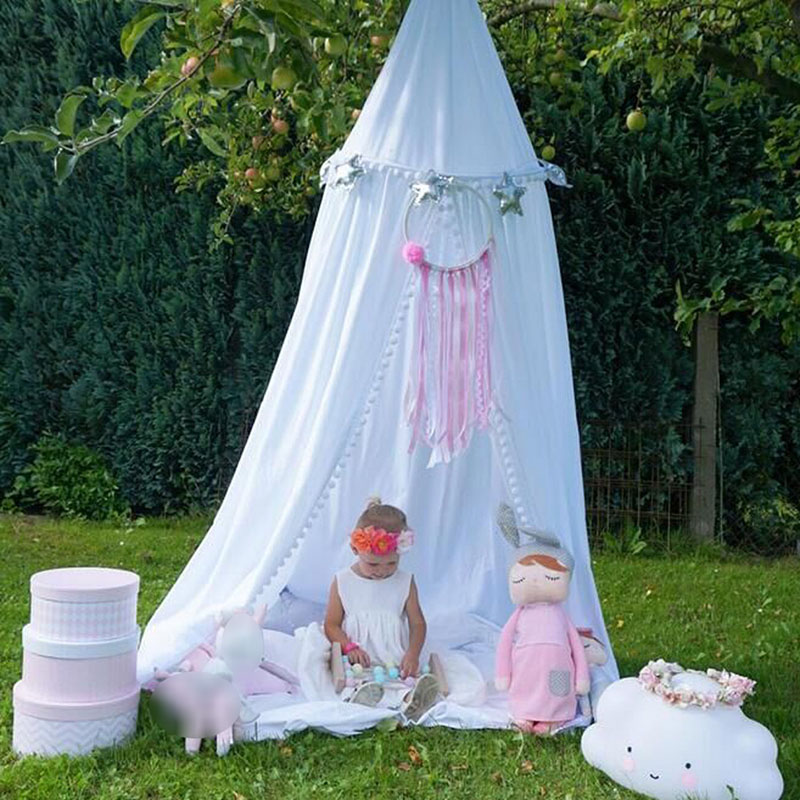 Nordic Kid 39 s Room Decoration Cotton Balls Mosquito Net Children 39 s Play Game Tents Mantle Bedding Round Dome Hanging Bed Valance in Mosquito Net from Home amp Garden