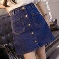 Cowboy waisted A-line um Coreano saia jeans fino único breasted denim saia de verão saia hip das mulheres