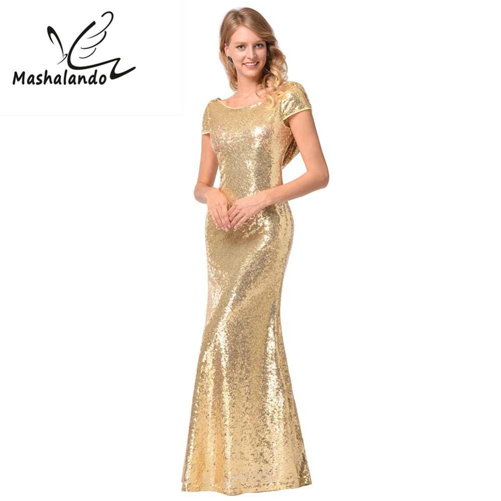 Luxury Gold Long Sequin Dress O Neck Short Sleeve Backless Retro Evening  Gowns Prom Party Formal b14295524298