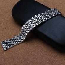 10 мм 12 мм 14 мм 16 мм 18 мм 20 мм 22 мм 24 мм из нержавеющей стали Watchband ремешок браслеты серебристого металла наручные часы группа бабочка застежка