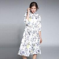 秋のレトロ女性白いドレスプリントハイウエスト黒シャツドレス女性スプリットvestidoデfedtaプラスサイズローブw/サッシn609