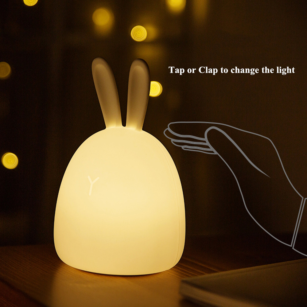 SuperNight Rabbit LED Night Light Vibration Touch Sensor Colorful USB Silicone Bunny Bedside Table Lamp for Children Kids Baby (4)