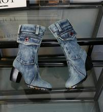 European Style 2016 New Design Boots Women Brand Denim Fashion Short Thick Heels Side Zip Cowboy Euro Size 34- 42