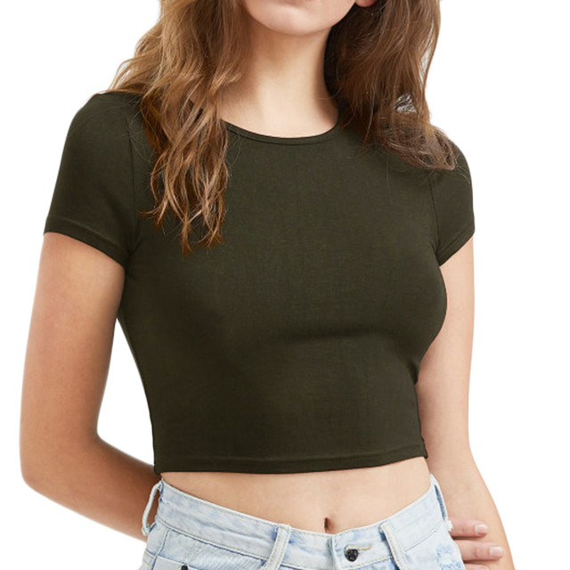 Short Sleeve O neck Summer Crop Tee
