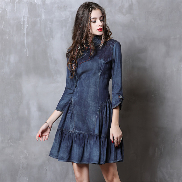 Cheongsam Dress Women 2019 Vintage Spring New Denim Dresses Chinoiserie Ruffles Mandarin Collar 3/4 Sleeve China Style Dress 3