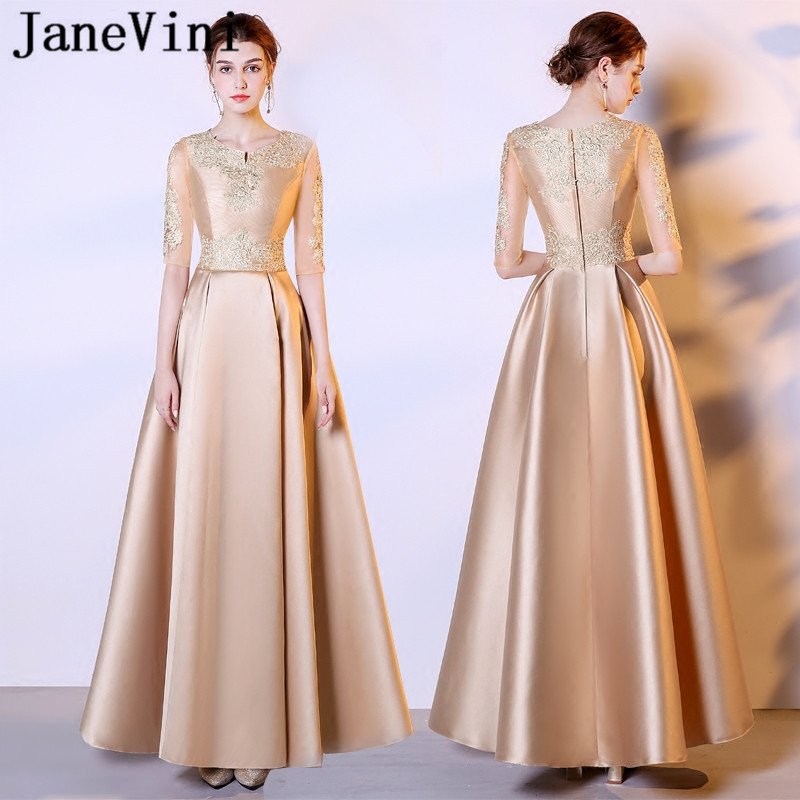 JaneVini Gold Long   Bridesmaid     Dresses   with Half Sleeves A Line Jewel Lace Appliques Satin Floor Length Robe De Fille D'honneur