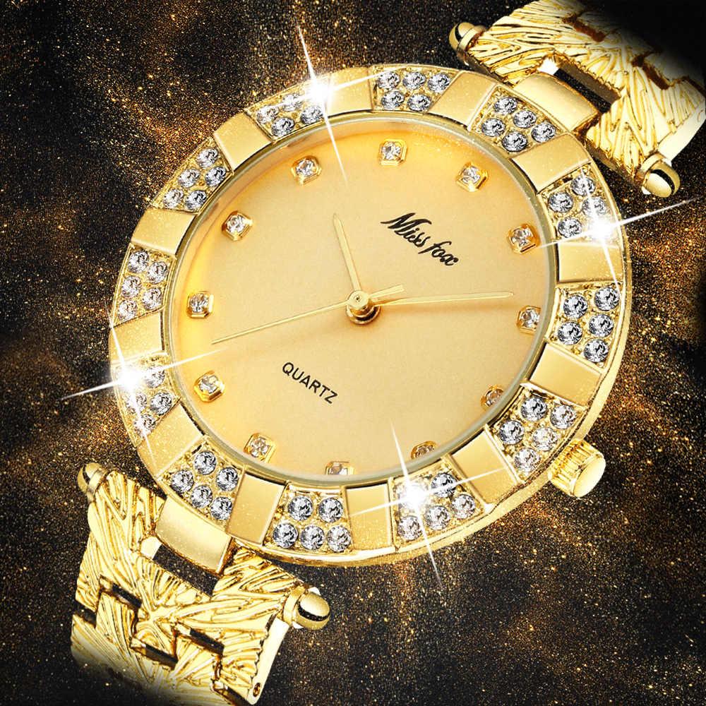 MISSFOX zegarki damskie luksusowe marki moda Casual Ladies Watch kobiety kwarcowy diament genewa bransoletka damska zegarki dla kobiet
