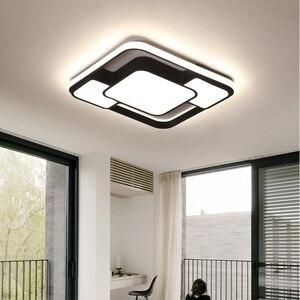 Image 4 - מודרני בית תפאורה led נברשת תאורת סלון חדר שינה קישוט לבן שחור ברזל גוף עם שלט רחוק משלוח חינם