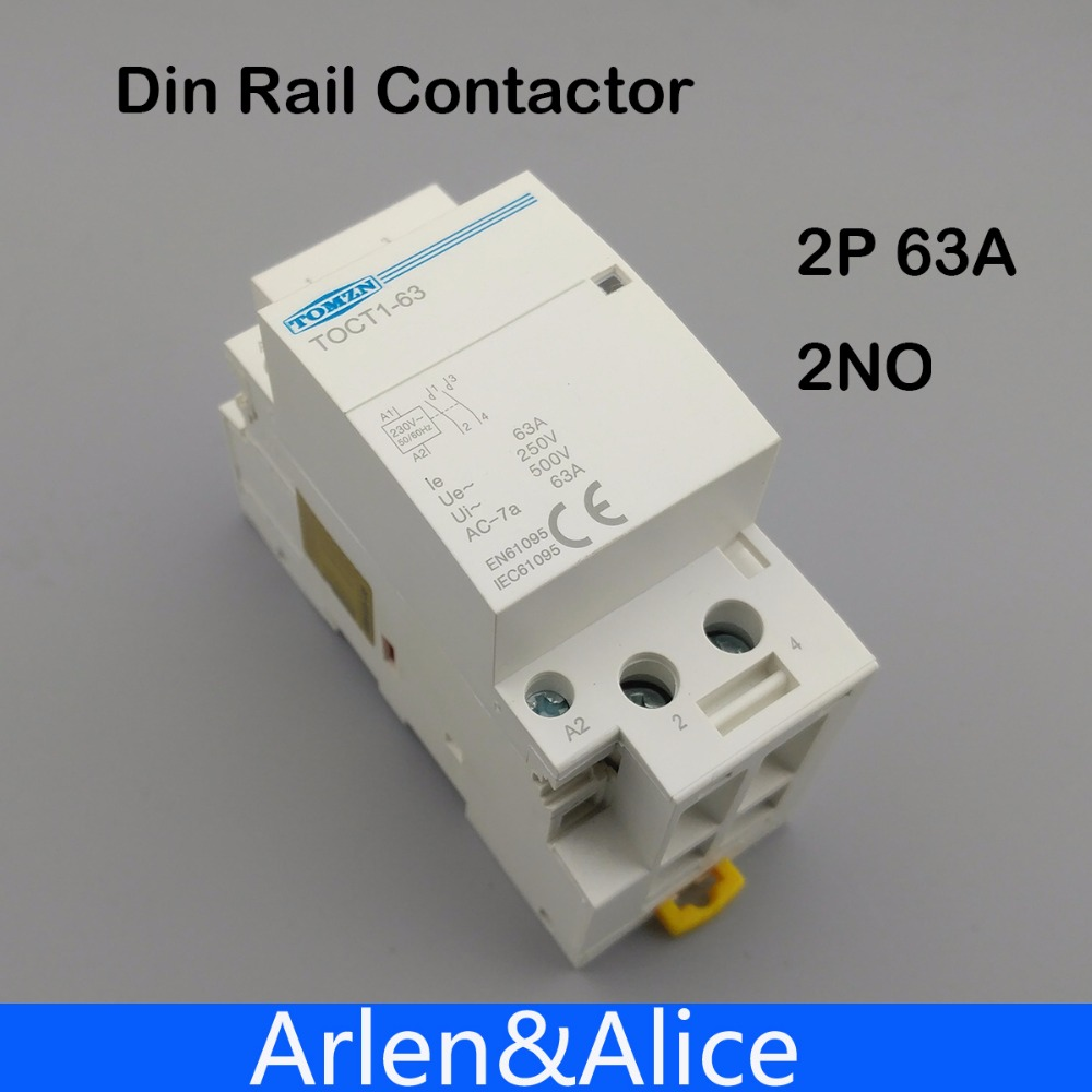 TOCT1 2 p 63A 220 v/230 v 50/60 hz su guida Din Per Uso Domestico ac Modulare contattore 2NO o 2NC o 1NO 1NC