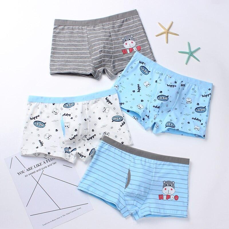 4pcs Kids Toddler Boys Underwear Stripe Boxer Briefs Cotton Shorts Underwear