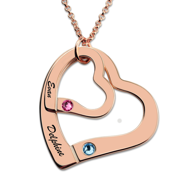Rose Gold Color Personalized Engraved Necklace Heart In Heart Necklace with Birthstones Love Jewelry for Couples