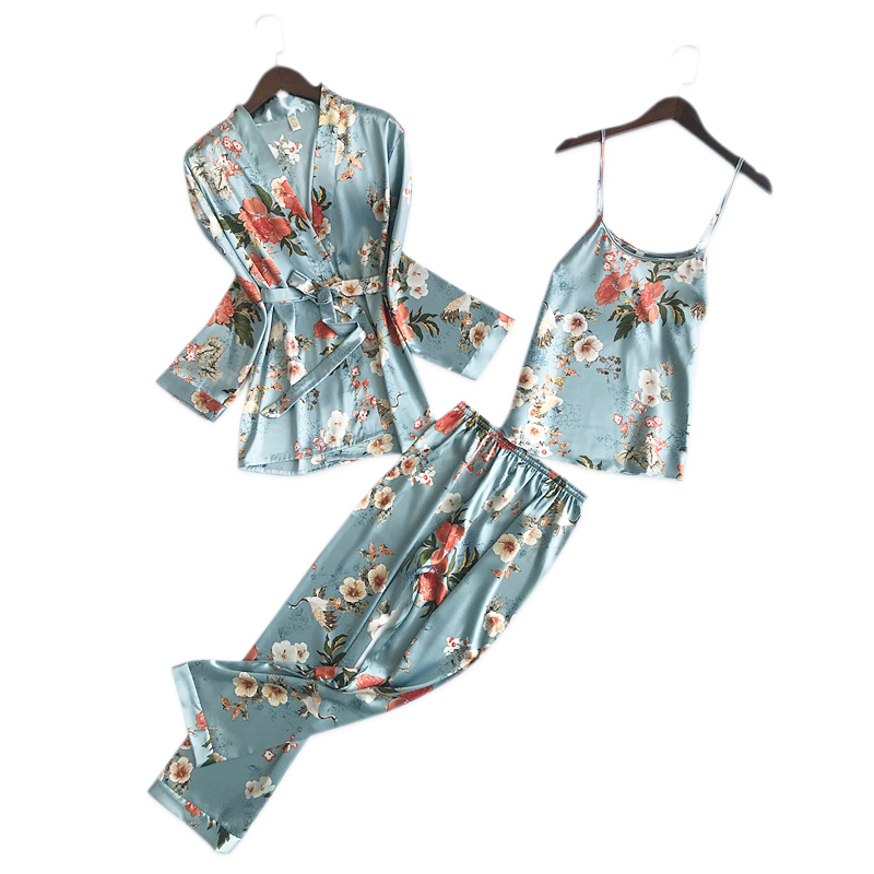 Korea Elegance Floral satins silk   pajamas     sets   women long sleeve silky ice silk pyjamas sexy 3-piece robe suit women sleepwear