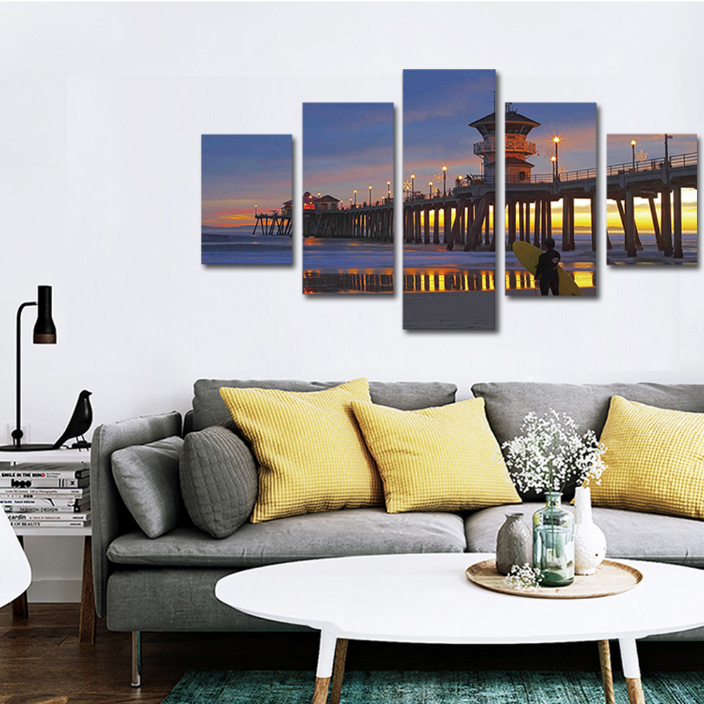 Unframed 5 panel HD Canvas Wall Art Giclee Painting Ancient Architecture Landscape For Living Room Home Decor Unframed