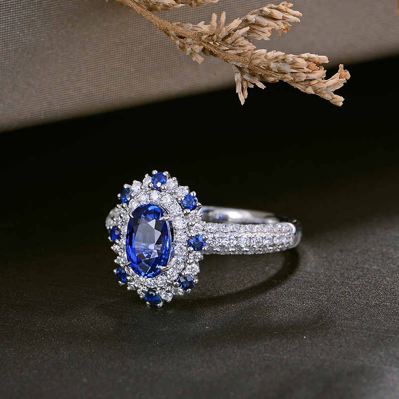 CaiMao 1.57ct Natural Sapphire Ring with Halo Diamonds 18kt White Gold Engagement Wedding Jewelry