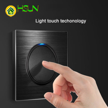 86 type 1 2 3 4 gang 1 2 way black aluminum alloy panel Switch socket light Europe Industry Switch France Germany UK socket led 1