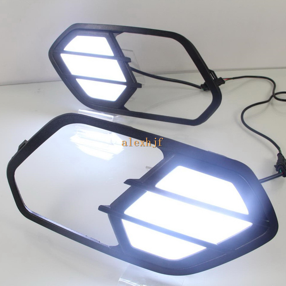 July King LED Daytime Running Lights DRL With Fog Lamp Cover, LED Fog Lamp Case for Ford Kuga Escape 2016~ON, 1:1 Replacement july king led light guide daytime running lights drl with fog lamp cover led fog lamp case for ford escort 2015 on 1 1 replace