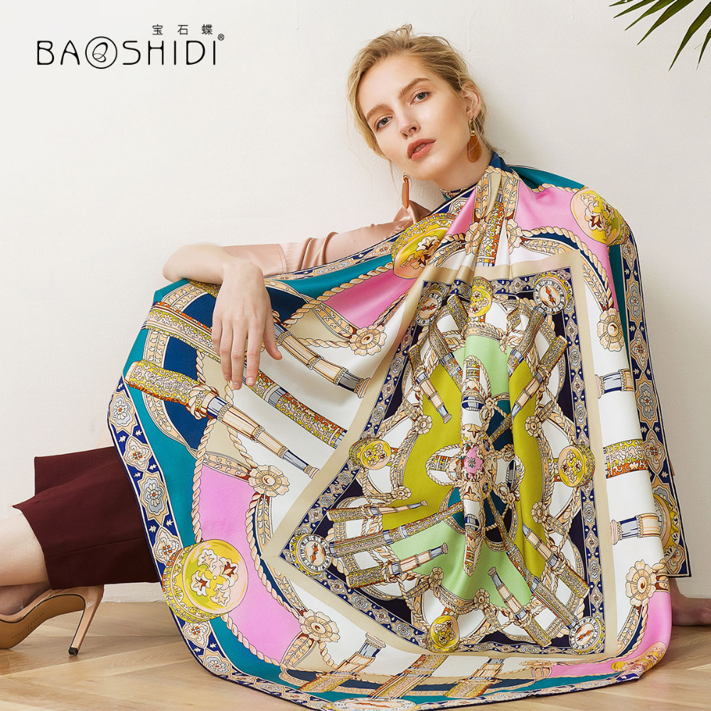 BAOSHIDI Luxury brand 2018 New Arrival 100 silk large square scarf 19m m thick silk