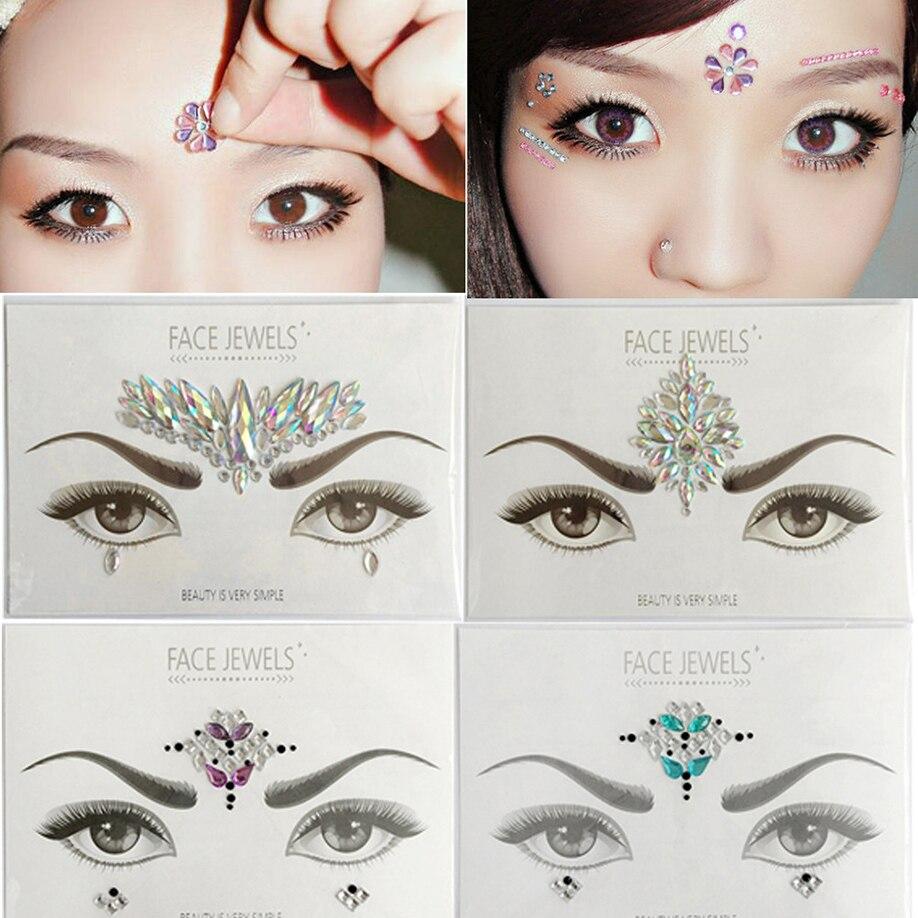 ISHOWTIENDA halloween 3d tattoos Crystal Temporary Eyes Tattoo Transfer Eyeshadow Eyeliner Face temporary tattoo sticker