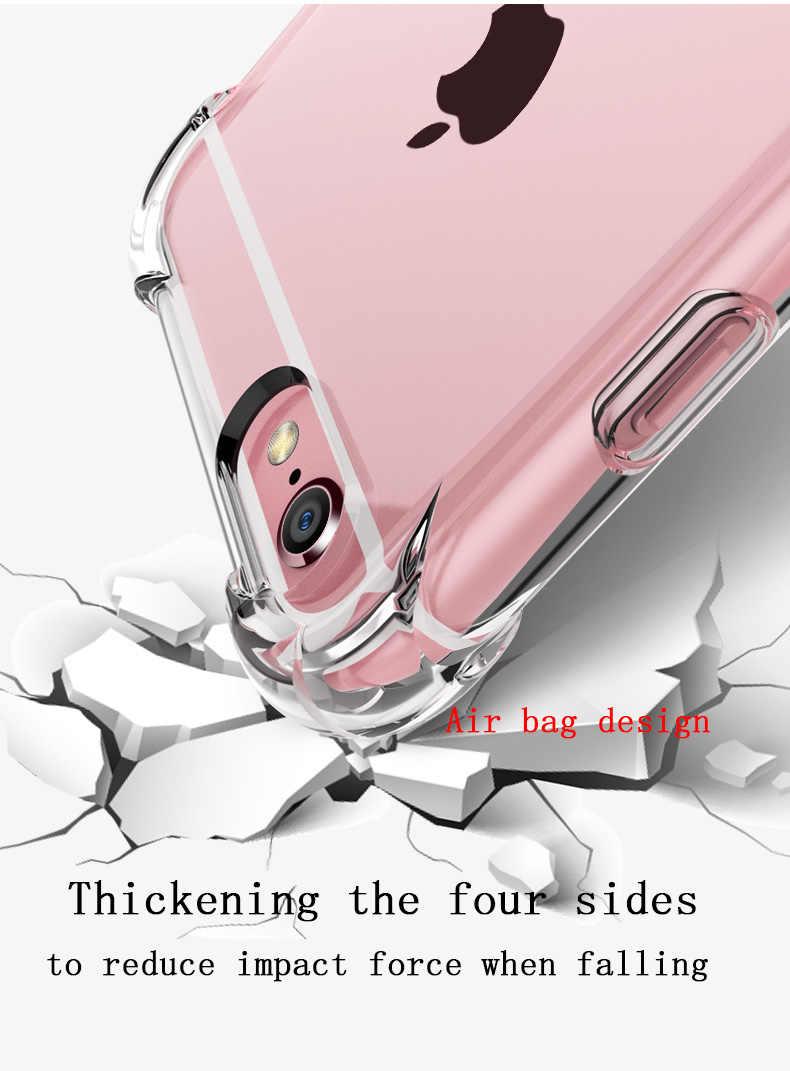 Super Schokbestendig Clear Soft Case voor iPhone 5 5S 6 7 8 Plus 6SPlus 8 Plus X XR XS 11 Pro MAX Silicon Luxe Mobiele Telefoon Achterkant