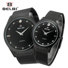 ФОТО belbi new couple watches genuine ultra-thin steel strap men women clock luxury box fashion diamond brand watch for forever love