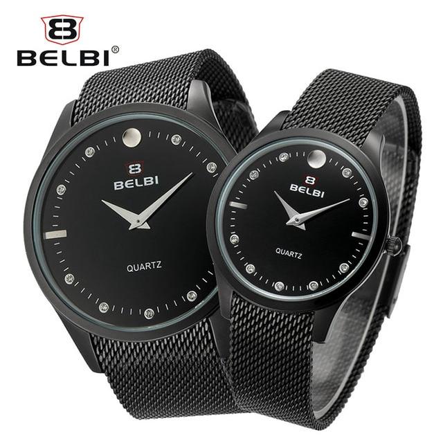 BELBI NEW Couple Watches Genuine Ultra-Thin Steel Strap Men Women Clock Luxury Box Fashion Diamond Brand Watch for forever love