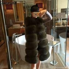 Ismtide Faux Fox Fur Vest Mulheres Coletes Inverno Quente Grosso Colete de pele de Moda de Luxo Casaco De Pele Casaco Colete Feminino Longo Outerwear