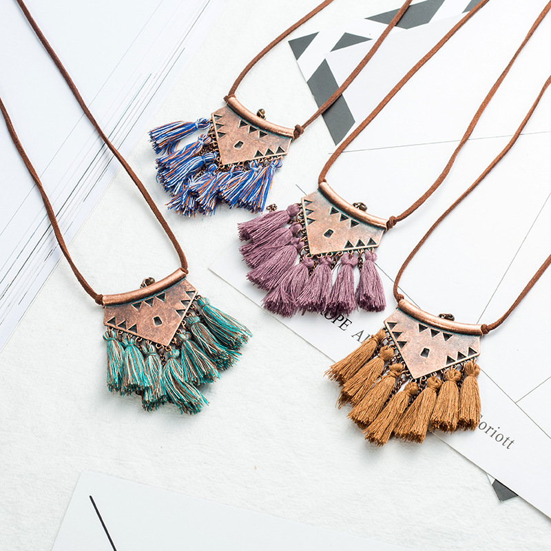 New Design Bohemian Ethnic Sweater Leather chain Long tassel Pendant Necklace For Women Jewelry