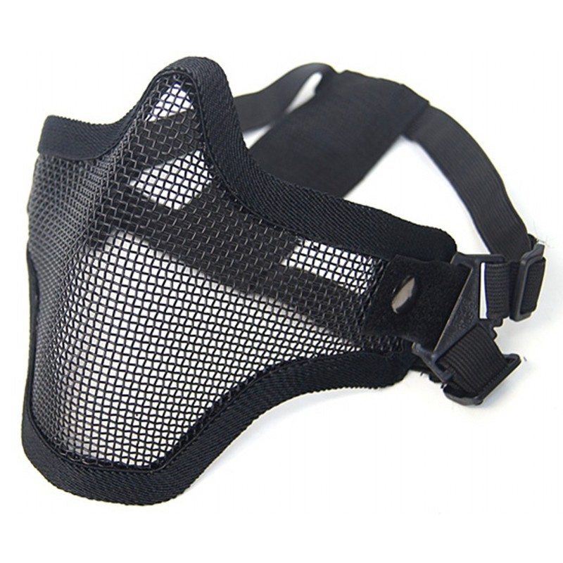 CQC Tactical Airsoft Skull Lower Half Face Mask Black Strike Steel Metal Mesh Protective Mask Hunting Halloween Party