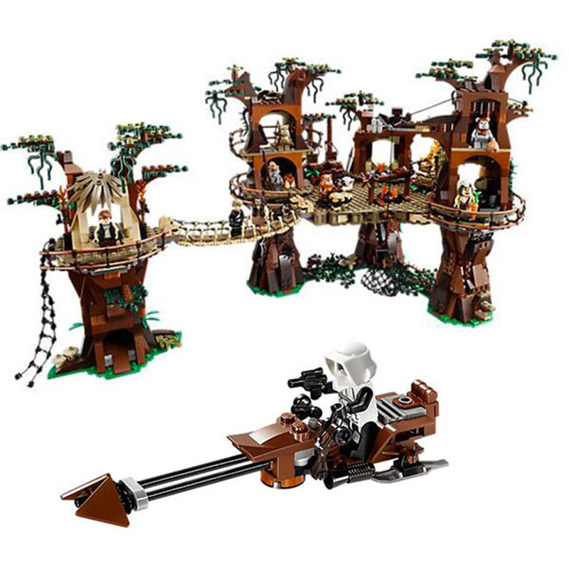 Lepin 05047 1990PCS Star Wars series of building blocks in ivok small bear village children assembly intelligence toys dhl fast shipping 1990pcs lepin 05047 ucs ewok village building blocks juguete para construir bricks toys compatible 10236