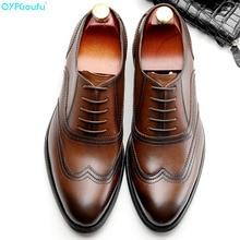 2019 Handmade Designer Vintage formal shoes Men Brand Party Wedding oxford shoes Genuine Leather Men Derby Dress Shoes