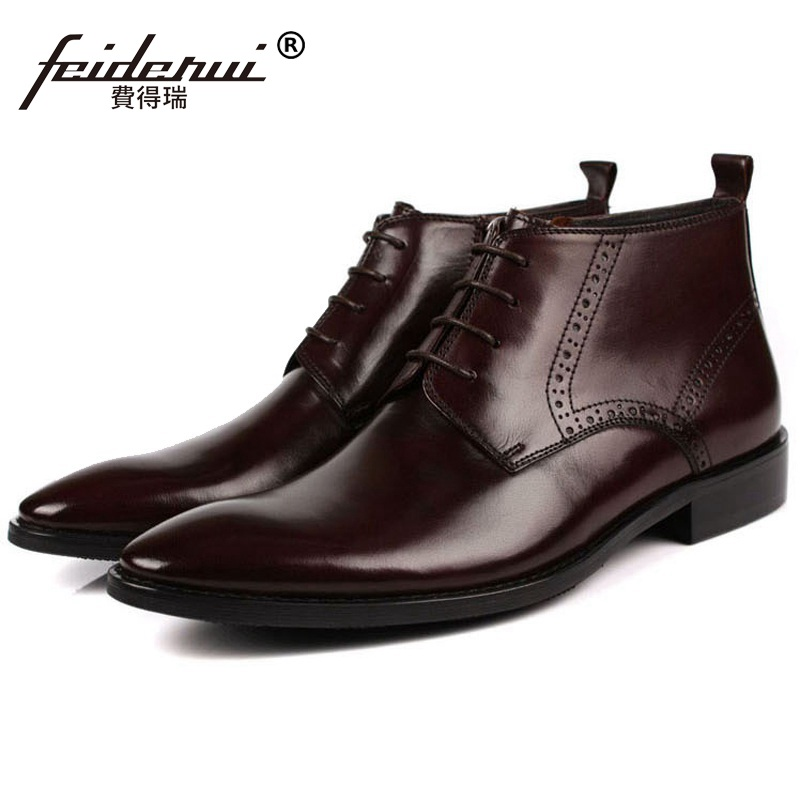 все цены на Luxury Brand Designer Man Handmade Brogue Shoes Genuine Leather Male Carved Footwear Men's Cowboy Martin Ankle Boots OD35 онлайн