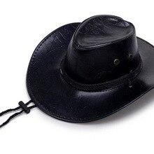 Unisex sombreros de vaquero de lujo occidental de cuero de la PU en la tapa  de ala ancha Sombrero para CABALLERO DAMA Sombrero H.. 279b18606f8