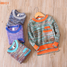 MMHSY Children Baby Boys Sweater color Tiny Cottons boys o-neck Winter Clothing Kid Knitted Pullover