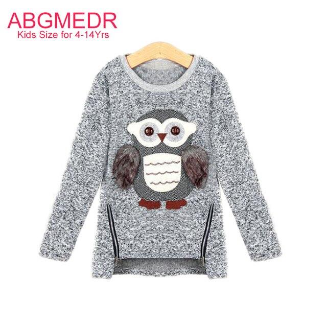 European Style Teenage Girls Sweaters Children Owl Girls Tops