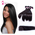 8a Brazilian Straight Lace Closure Bleached Knots 4x4 inches Natural Black Color 4 Bundles/Lot 100% Original Human Hair Products