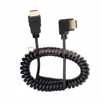 10pcs/90 Degree Right Angled HDMI to HDMI Stretch Spring Cable for HDTV DVB DVD PC 1.2m