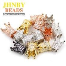 Jhnby 4 pçs coroa de cobre espaçador contas 12*8mm micro pavimentar branco zircão encantos ouro contas soltas jóias pulseira fazendo diy descobertas