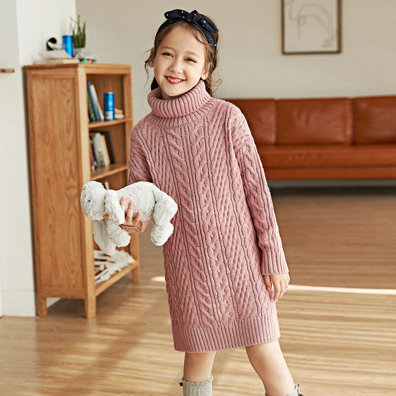 2018 Winter Girls Woolen Sweater Pullovers for Baby Girls Fashion Clothes Turtleneck Sweater Shirt 5 6 7 8 9 10 11 12 Years Old winter girls clothes sweater for baby girl 5 6 7 8 9 years children knit long sleeve pullovers cotton plaid autumn tops teeanger