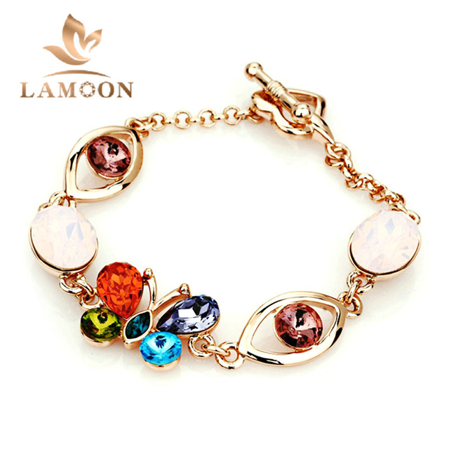 Top Quality H002 Multicolour Butterfly Drop Bracelet  Rose Gold Plated Genuine  Austrian Crystals Wholesale