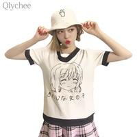 Qlychee Harajuku Style Summer Women Cute Tee Top Girl Japanese Letter T Shirt Short Sleeve Hollow